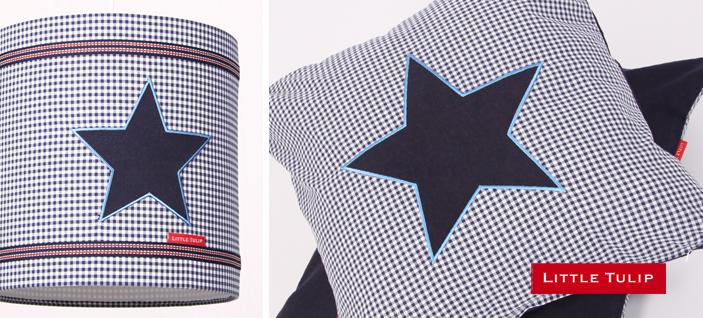 stars en stripes kamer Royaal kussen in klassieke blauwe ruit met grote applikatie van stoere ster in blue jeans. Achterzijde van bue jeans. Een prachtige accessoire voor in de tiener én kinderkamer! Afneembare, wasbare hoes & los binnenkussen met katoenen tijk.