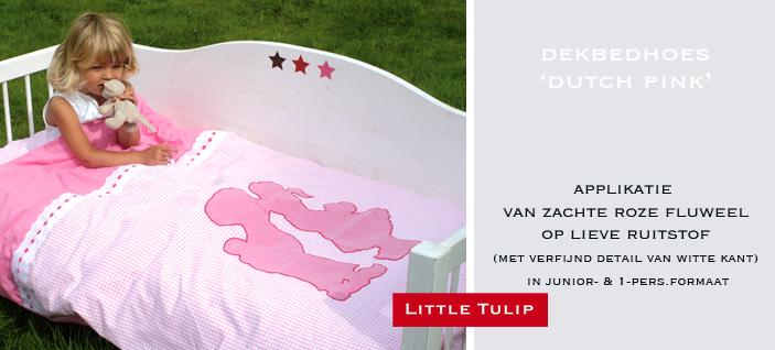 Dutch Pink  lief beddengoed voor kinderen Soepel overtrek van hoge kwaliteit katoen in roze ruit & uni roze. Met zachte grote applikatie van roze fluweel.