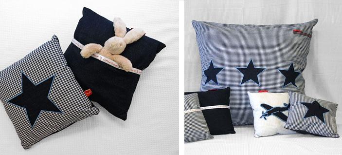 stoere sterren in de kinderen Kussentje in klassieke blauwe ruit met applikatie van stoere ster in jeans. Een mooi en handig accessoire voor elke kinderkamer. Met opbergvakje voor de favoriete knuffel.