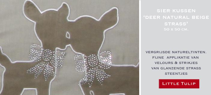 beige beddengoed met strass Deer Natural Beige Luxe kussen in naturel beige katoen met linnenlook. De lieve zachte hertjes van velours geven dit accessoire een fijne uitstraling